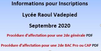Procédure d'inscription au lycée Raoul Vadepied pour la rentrée Septembre 2020