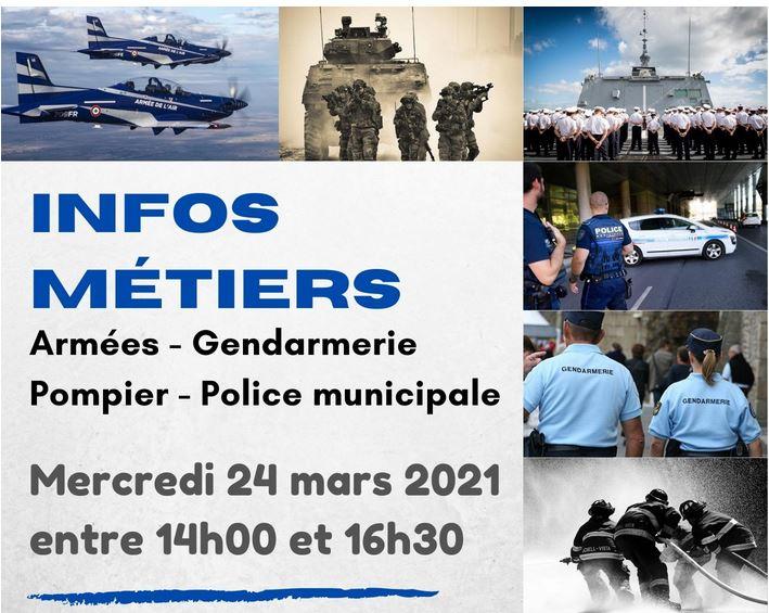 info métier ARMEES – GENDARMERIE – POMPIER – POLICE MUNICIPALE au PIJ d'Evron